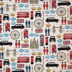 I Love London - British Collection by The Henley Studio for Andover Makower UK Fabrics. I want this for a pillow