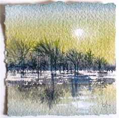 another LOOK: Winter Moonrise at Dusk - miniature watercolorlandscape by Gretchen