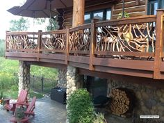 Log Home Deck Railing  more http://awoodrailing.com