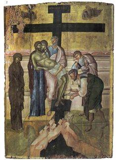 Αποκαθήλωση / Descent from the Cross Byzantine Icons, Byzantine Art, Crucifixion Of Jesus, Archangel Raphael, Christian Crafts, Jesus Resurrection, Holy Cross, Orthodox Icons, Angel Art