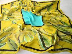 Hand Painted Silk Scarf 100cm Yellow Tulips Handpainted Silk