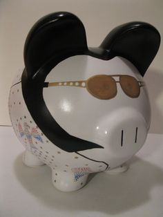 Elvis Piggy Banks - Made To Order - Would you believe. Wooden Piggy Bank, Large Piggy Bank, Pig Bank, Giant Eagle, Personalized Piggy Bank, Paint Your Own Pottery, Cute Piggies, This Little Piggy, Middle School Art