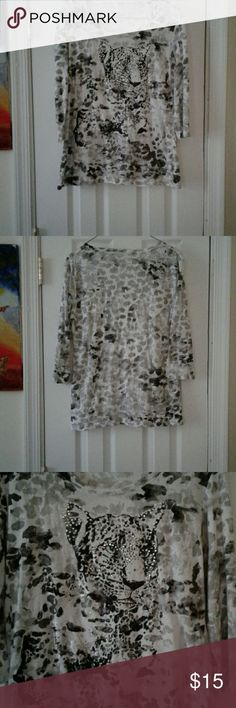 Style and Co Women's Top Black, white and gray designs on white background, quarter sleeves, tiger figure embellishment with white and green beading decorates the front. Camisole is attached which is underneath the top. Wear with jeans, capris or shorts. Excellent used condition. Style & Co Tops