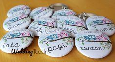 Badges idée annonce grossesse, naissance, avec famille hiboux ©weddingtouch