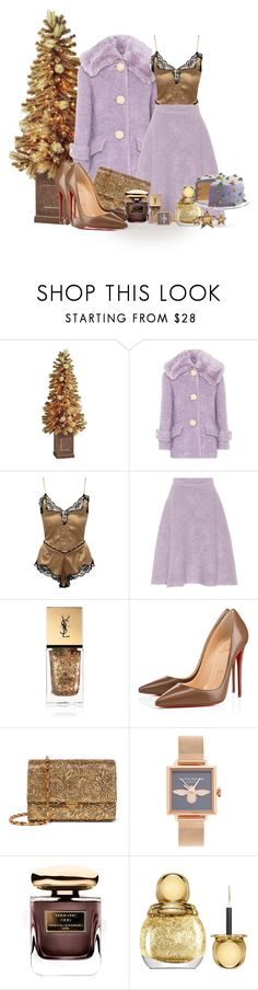 """""""Gold and Lilac Christmas"""" by lorika-borika on Polyvore featuring мода, Pier 1 Imports, Miu Miu, Versace, Yves Saint Laurent, Christian Louboutin, Michael Kors, Olivia Burton, By Terry и Christian Dior"""