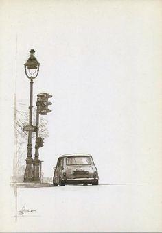 Mini Cooper S, Mini Cooper Classic, Classic Mini, Classic Cars, Car Illustration, Illustrations, Garage Art, Car Posters, Funny Tattoos