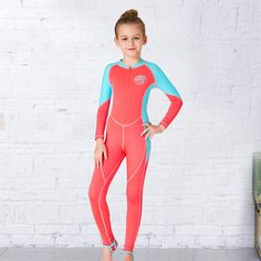 35b26289c4 Girls Wetsuit Kids Diving Suit One piece Long Sleeves UV protection Keep  Warm Children Swimwear Surfing