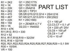 1000W Power Audio Amplifier Part List