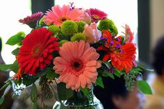 Wedding Centerpieces With Gerbera Daisies  Great flower to include in bright colorful centerpieces