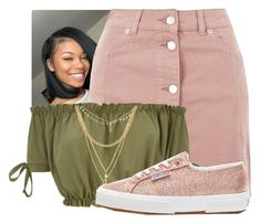 """Football Game Contest"" by sophisticatedsammy ❤ liked on Polyvore featuring Topshop, Ettika and Superga"