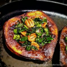 Roasted Acorn Squash with Kale and Pecans