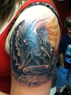 Out of The Ashes We Rise Tattoo.  Electrik Needle Prescott Valley AZ