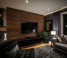 33 modern TV wall panel designs and models modern living room black with tv wanpaneel wood and black pieces of furniture Living Room Tv Wall, Slat Wall, Accent Walls In Living Room, Living Room Diy, Living Room Modern, Wall Panel Design, Wood Slat Wall, Modern Tv Wall, Tv Wall Panel