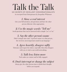 Six secrets of excellent conversationalists as excerpted from Entrepreneur by Jacqueline Whitmore