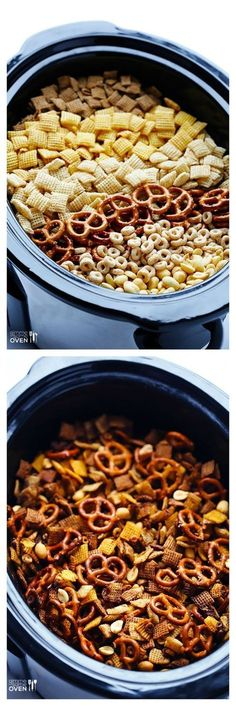 Slow Cooker Chex Mix -- the classic mix you love, made in your crock pot! Always loved home made Chex mix warm from the oven.now the crock pot! Crock Pot Slow Cooker, Crock Pot Cooking, Crock Pots, Crockpot Meals, Crock Pot Chex Mix, Chex Mix In Crockpot, Crock Pot Candy, Cooking Time, Broccoli Crockpot