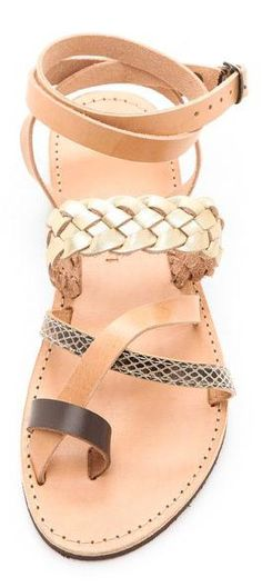 Beautiful Leather Strappy Flat Sandals