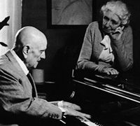 Jean Sibelius plays piano to his wife Aino at their home Ainola.