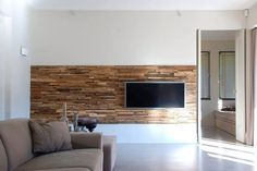 Partial wood wall behind TV - idea for our Family Room remodel