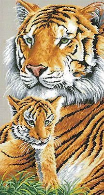 Tender Moment TIGER & CUB Dyan Allaire Kustom Krafts Cross Stitch Chart Safari