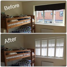 We transformed this children's bedroom with these classy, modern and child safe white wooden shutters