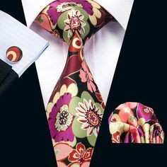 DQT Woven Floral Paisley Black /& Red Classic Skinny Tie Hanky Cufflinks Set