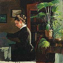 Bertha Wegmann, attributet. : Interior with young