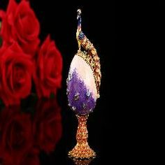 [ 25% OFF ] Peacock Purple Faberge Russia Eggs Jewelry Trinket Box Figurine Home Display Vintage Faberge Egg Magnet Metal Crafts
