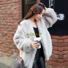 Jacket Coat Outwear Faux Mink Fur Women's Long Sleece Short Coat Outwear#B