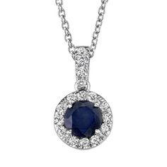 @Overstock - Stunning pendant features a deep blue sapphire surrounded by brilliant round diamonds  Jewelry is crafted of lustrous 14-karat white gold  Elegant framed sapphire necklace is a glamorous choice for any occasionhttp://www.overstock.com/Jewelry-Watches/14k-White-Gold-Blue-Sapphire-and-1-6ct-TDW-Diamond-Necklace/4341061/product.html?CID=214117 $879.99