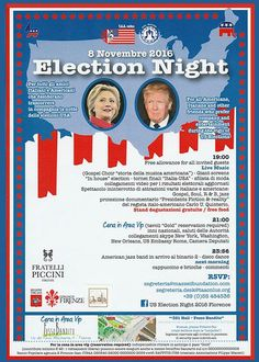Election Night, Late Nights, Choir, Nightlife, Live Music, Florence, Italy, Invitations, Usa