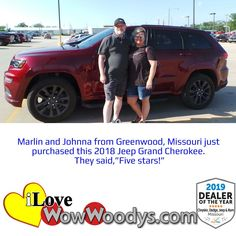 Say hello to the proud new owners of this 2018 Jeep Grand Cherokee! Congratulations! 🎉 #wow #wowwoodys #woodysautomotive #cars #trucks #suvs #carsforsale #trucksforsale #suvsforsale #kansascity #chillicothe #customerreviews #customertestimonials #wowcarbuying #carshopping #happycustomers #2018jeepgrandcherokee #2018jeepgrandcherokee #jeepgrandcherokee #jeep #grandcherokee
