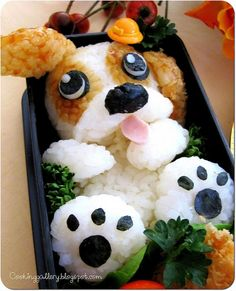 Another puppy bento! Its just that awesome ridiculously cute ways to make sushi :: Cosmopolitan Brilliant Dog Bento Lunches · The Inspiration EditFurNation - The Original Furry Social Network! - Album Photo View I've seen some creative Bento's b Kawaii Bento, Cute Bento Boxes, Bento Box Lunch, Cute Food, Good Food, Japanese Food Art, Food Art For Kids, How To Make Sushi, Bento Recipes