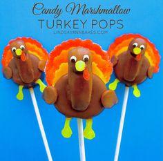 Lindsay Ann Bakes: Candy Marshmallow Turkey Pops