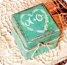 Mint Rustic Wood Wedding Box / http://www.deerpearlflowers.com/rustic-wood-ring-boxes/