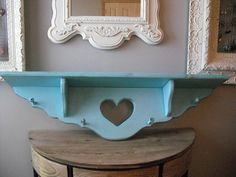 Vintage upcycled AQUA Wood peg shelf with heart cut out and plate groove ... Large painted beauty