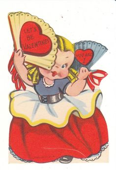 """This die-cut vintage Valentine card for a child features a flirting girl with a fan. It is 3.5 high, unused, no envelope. """"Lets be Valentines you and I.""""  From Birdhouse Books on Etsy."""