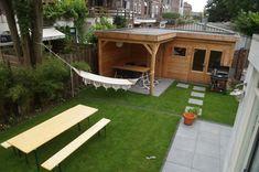 Garden Design Plans, Outside Living, Utrecht, Picnic Table, Backyard Landscaping, Canopy, Landscape, Outdoor Decor, House