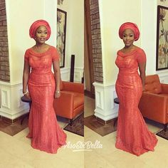 makeup and gele by African Lace Dresses, African Dresses For Women, African Fashion Dresses, African Women, African Wedding Attire, African Attire, African Wear, African Style, Lace Gown Styles