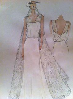 sketch of the wedding dress by Federica Ducoli