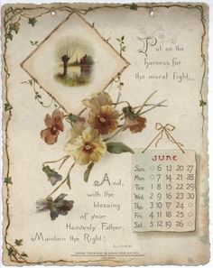 NOBLE THOUGHTS FROM WHITTIER CALENDAR FOR 1897. Vintage Ephemera, Vintage Cards, Vintage Signs, Vintage Images, Print Calendar, Calendar Pages, Vintage Flower Prints, Vintage Flowers, Vintage Calendar
