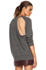 Alexander Wang | Sheer Back Peel Away Wool-Blend Sweatshirt in Sweatshirt