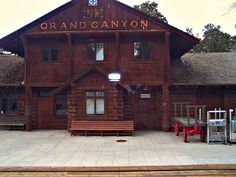 """Grand Canyon Railroad Station - this Grand Canyon Railroad runs from William, AZ to the South Rim of the Canyon. You arrive and depart at this unique little station. It is one of the last log """"cabin"""" rail stations in the US"""