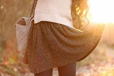 sweater over high waisted skirt (or dress) with tights
