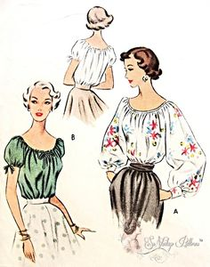 1950 Beautiful Peasant Style Blouse Pattern Romantic Bohemian Design Lovely Full or Short Sweet Puff Sleeves McCall 8134 Vintage Sewing Pattern Bust 34 FACTORY FOLDED-Authentic vintage sewing patterns: This is a fabulous original dress making pattern Dress Making Patterns, Vintage Dress Patterns, Blouse Vintage, Clothing Patterns, Retro Fashion, Vintage Fashion, Vintage Cowgirl, Bohemian Design, Cute Blouses