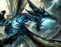 Hearthstone News: Decklist spotlight: Firebat's Reno Dragon Warrior Dark Fantasy, Fantasy Art, Lightning Dragon, Fantasy Beasts, Cool Dragons, Dragon Artwork, Dragon Pictures, Fantasy Monster, Wow Art
