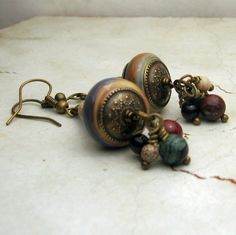Lampwork Beaded Earrings Antique Brass by StoneDesignsbySheila, $28.00