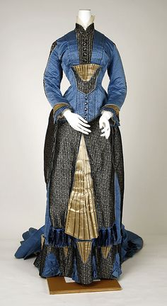 1880 silk and cotton blue, black, and gold dress, French via The Metropolitan Museum of Art