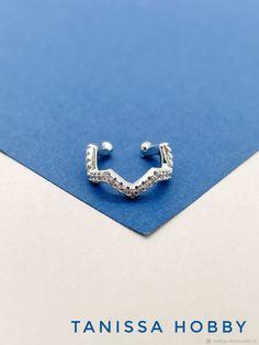 Materials: brass, rhodium, cubic zirconia Size: 1.5mm ##handmade Cubic Zirconia Earrings, Zig Zag, Brass, Handmade, Free, Products, Hand Made, Gadget, Handarbeit