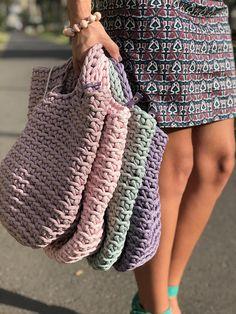 Crochet Tote Bag Knitted Handbag BABY PINK color Modern