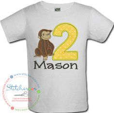 Stitcheroos personalized birthday onesie or shirt embroidered with Curious George.